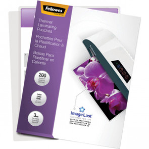 FELLOWES GLOSSY POUCHES-IMAGELAST, LTR, 3MIL, 200
