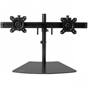 "STARTECH ARMBARDUO - DUAL MONITOR MOUNT - SUPPORTS 12"" TO 24"" - ADJUSTABLE - LOW PROFILE BASE - HORIZONTAL - BLACK - STAND ADJUSTABLE ARM"